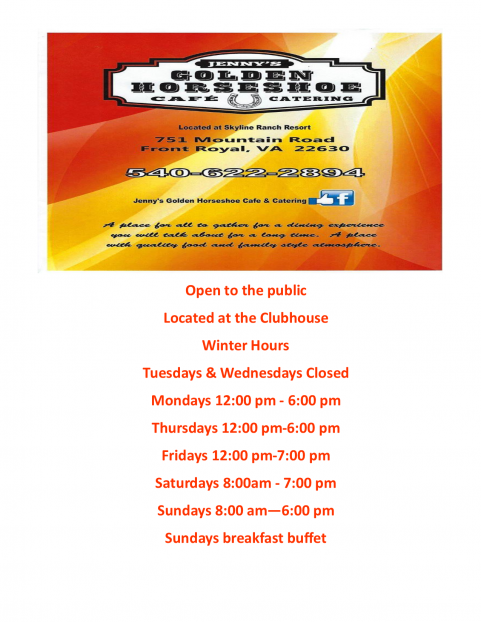 Jenny's Golden Horeshoe & Cafe` Hours WINTER